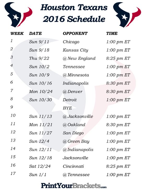 Printable Houston Texans Schedule - 2016 Football Season