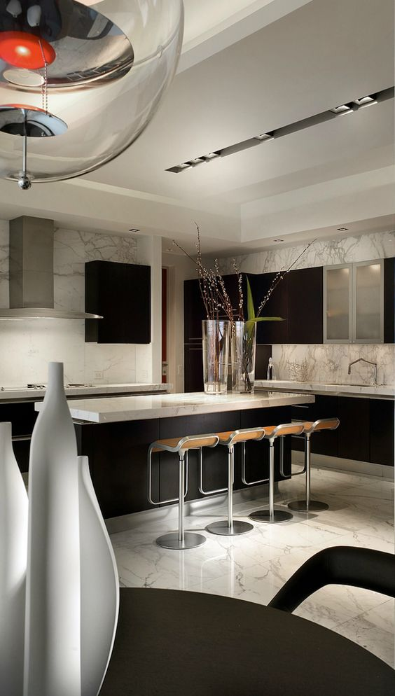 I liked the black detailing against the grey white walls for Black contemporary kitchen
