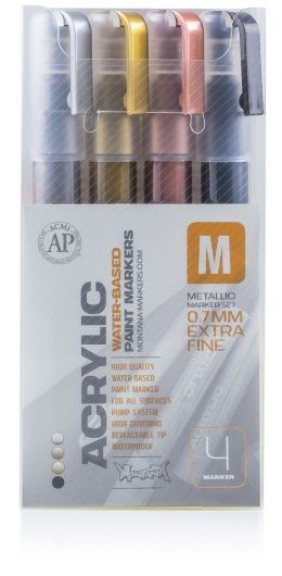 Acrylic water-based metallic paint markers - 0.7 mm extra fine