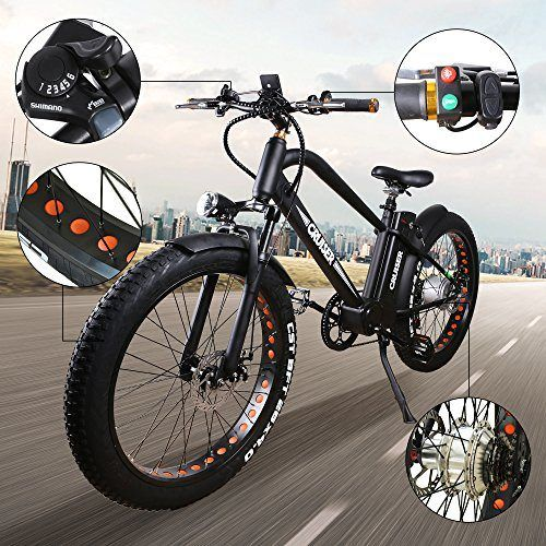 Nakto 26 500w Electric Mountain Bike Wide Tires 48v 10ah Black