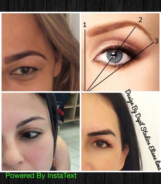Início ponto mais alto e fim técnica de design de sobrancelhas geométricas que usa o centro da íris do olho