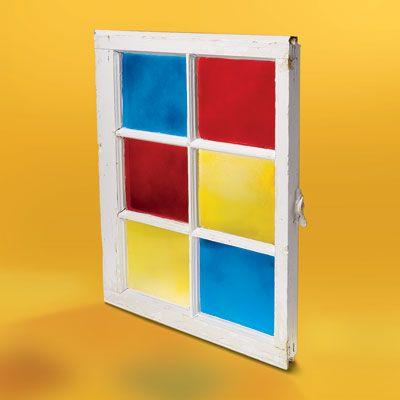 Spray painted window panes #DIY #window #colors