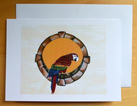 Parrot Greeting Card, Blank Inside Card, Original Design, Animal Artwork,Pet Card, Any Occasion,Get Well, Happy Birthday, Thank You, Holiday by JeannesJungle on Etsy