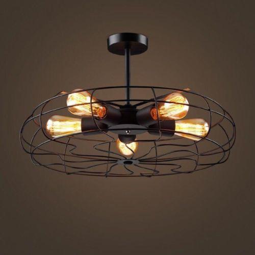 Vintage Industrial Ceiling Light Pendant Lamp Chandeliers Metal Fan Cage Fixture Hangende Laternen Deckenventilator Vintage Metall