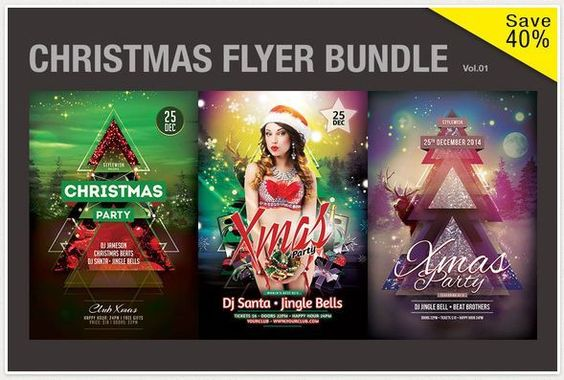 CHRISTMAS FLYER template BUNDLE 3 christmas flyer in one Bundle - christmas flyer template