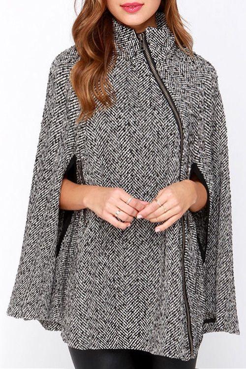 Pure Color Stand Neck Cape Coat                                                                                                                                                      More: