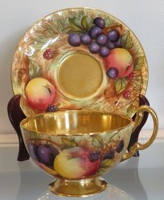 Antique Aynsley Hand Painted Gilt Porcelain Cup & Saucer: Genuine antique English porcelain dating to the early 1900's