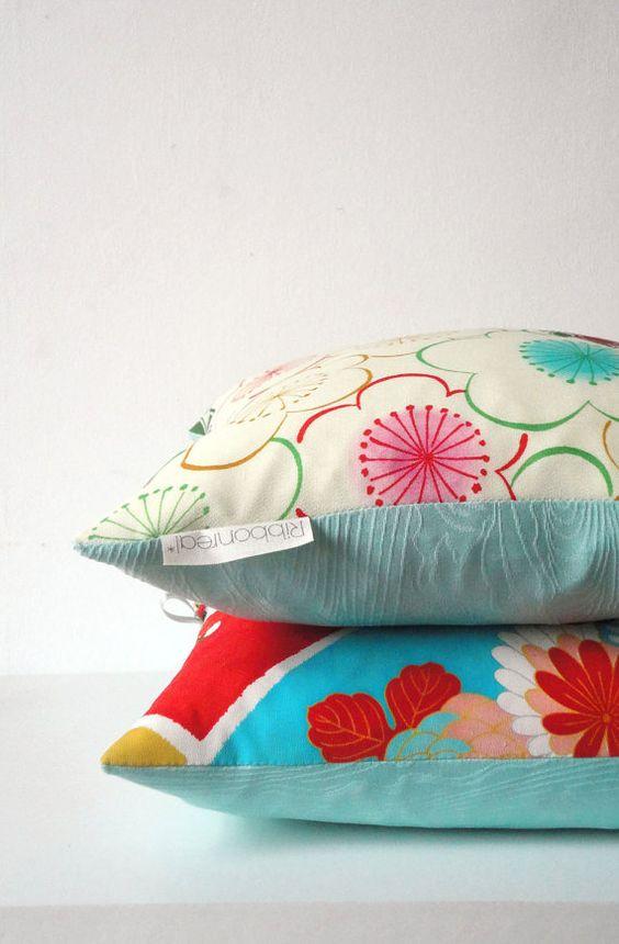 Bold pattern. Bright colours rainbow colours. Vintage kimono fabric. Japanese pillow. Kimono cushion.