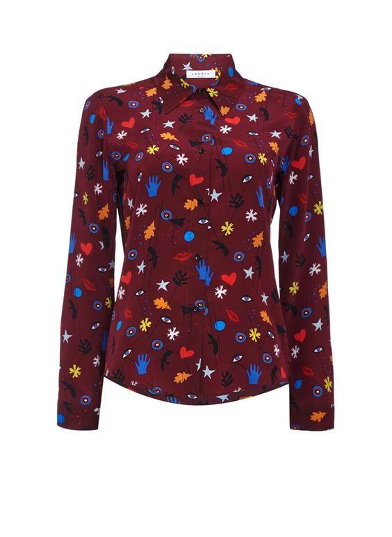 Sandro Catou blouse van zijde met grafische print