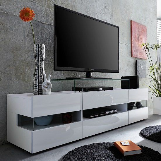 Kirsten Tv Stand In White With Gloss Fronts And Led 6 Modern Tv Stand Living Rooms Tv Stand Decor Tv Stand Decor Living Room