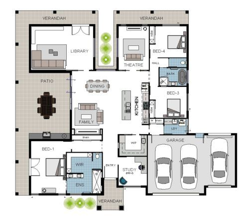 Games Room Move To Side Kitchen Living Dining Layout House Plans Australia Courtyard House Plans Eco House Plans