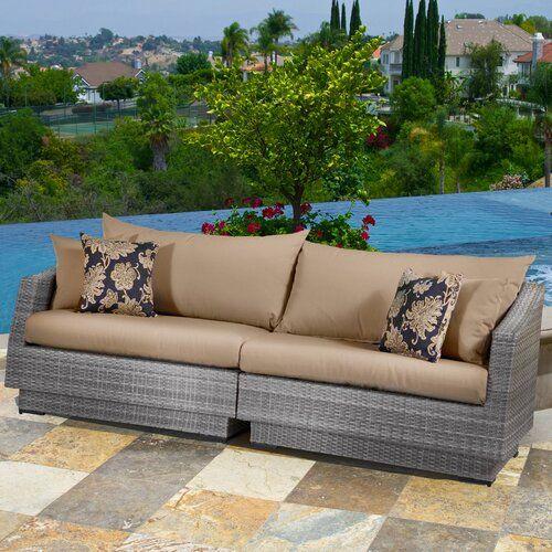 Wade Logan Castelli 6 Piece Sofa Set With Sunbrella Cushions Reviews Wayfair Patio Sofa Patio Furniture Outdoor Sofa