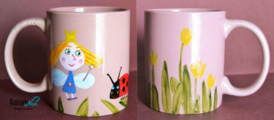 "Taza mug ""Ben y Holly"" pintada a mano Aniramnoc"