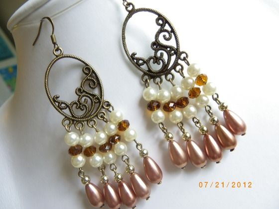 Antiqued style bronze dangle cream pearls amber gold cocoa fashion earring $18.00