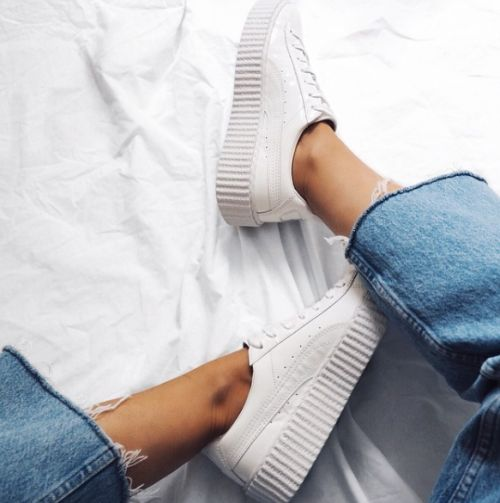 raw edge denim & white sneakers