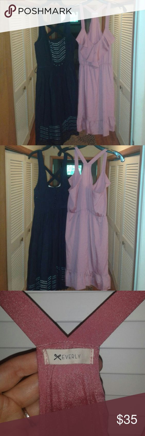Clearout! 2 for 1!!  Everly and Moulinette soeurs! Beautiful Everly dress in a pink mauve with y strap back, ruffle neckline, ruffle hem and cinched eastic waist.  Would fit size small (4-6) and probably 8. Dress has a couple small marks, barely noticeable... AND a Moulinette Soeurs navy fit and flare dress with criss cross back straps, scoop neck, side zip closure, fully lined, and cutout details through top and hemline! does ot come with belt.  Has loops but can be removed. Size 4…