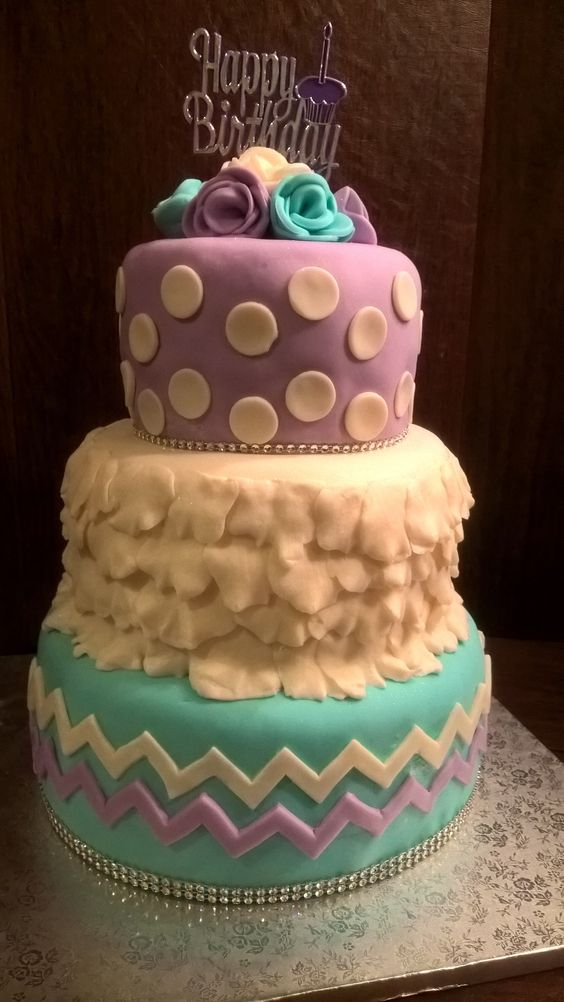 Floral Petals Chevron Birthday Cake