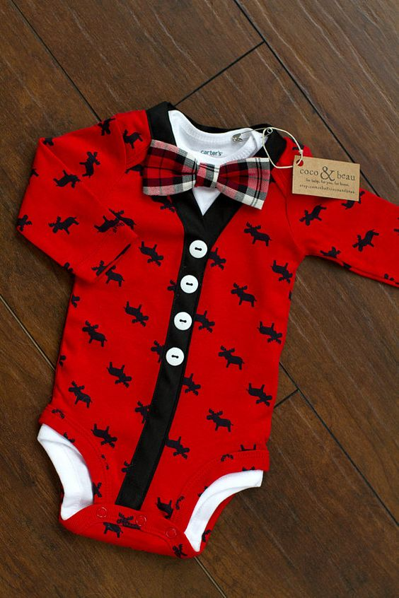 Baby Boy Christmas Moose Bodysuit Cardigan Plaid perfect !!! Seriously how cute is this I love cardigans. I love plaid. Everything about this is perfect.