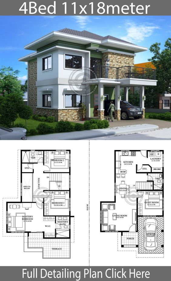 Home design plan 111x18m with 4 bedrooms - Home Design with Plansearch