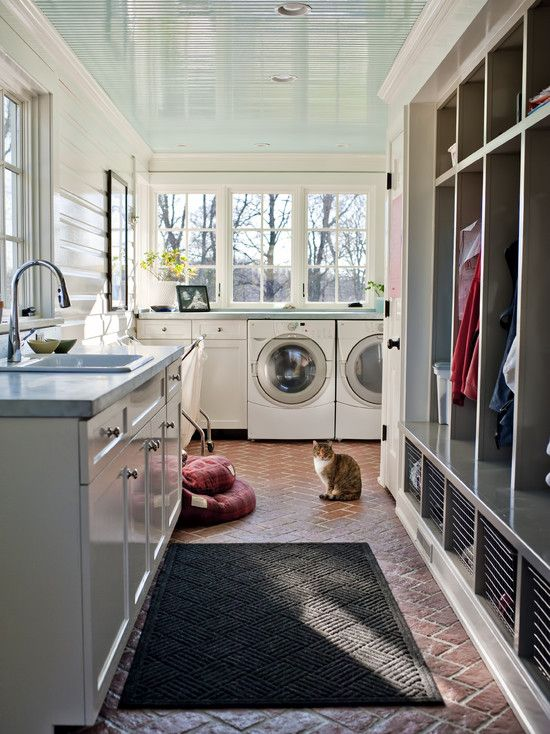 love this Laundry/Mud room, the floor, color of cabinets, walls, ceiling color, minus the cat...