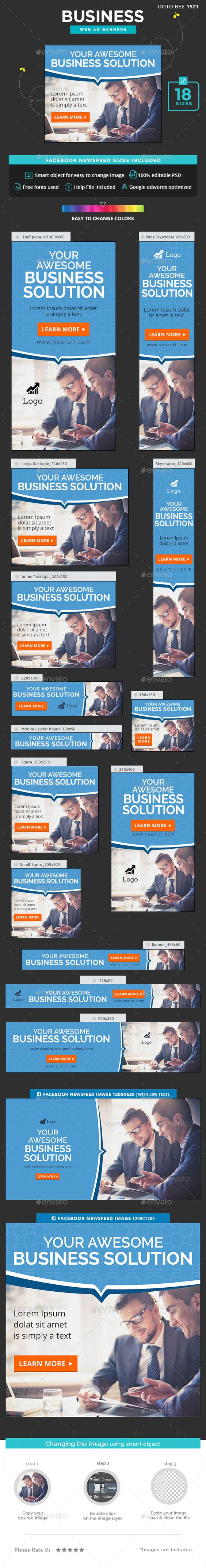 Business Banners — Photoshop PSD #flat design #banners • Available here → https://graphicriver.net/item/business-banners/16875046?ref=pxcr