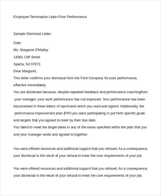 Employee Termination Letter Free Amp Premium Templates Format