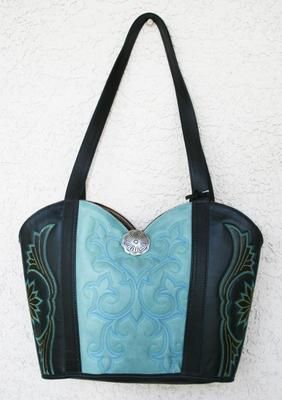 New Leather Cowboy Boots Tote Ladies Leather Purse Western Purse