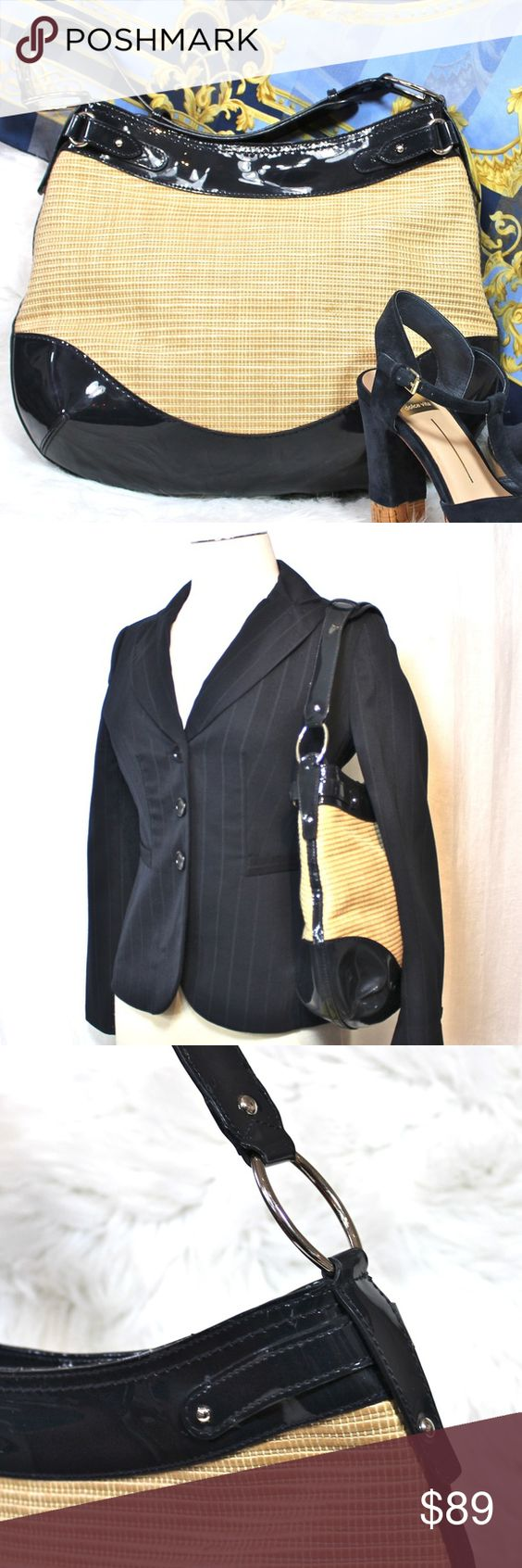 Used 1x**Ann Taylor Straw/Leather Bag ?Used Once! Fantastic condition!Beautiful Ann Taylor Navy Straw Patent Leather Bag  Lovely horizontal straw weave on main body. SIlver grommets & hardware. Sidewall zippered pocket, 2 open pockets keep things orga
