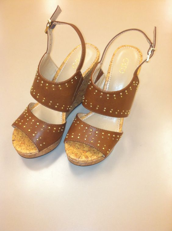 These brown wedges are really cute! I love the gold studs on them! You can find them at #catofashions :)