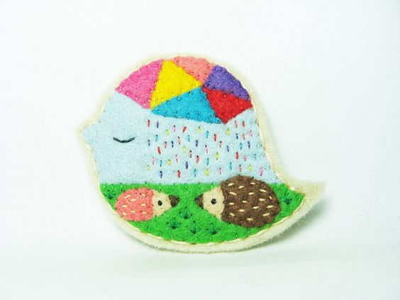Rainbow rain felt brooch | Flickr - Photo Sharing!