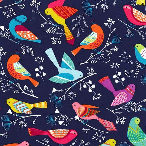 This fun, colorful bird fabric from Michael Miller has a navy blue background with colorful birds throughout.