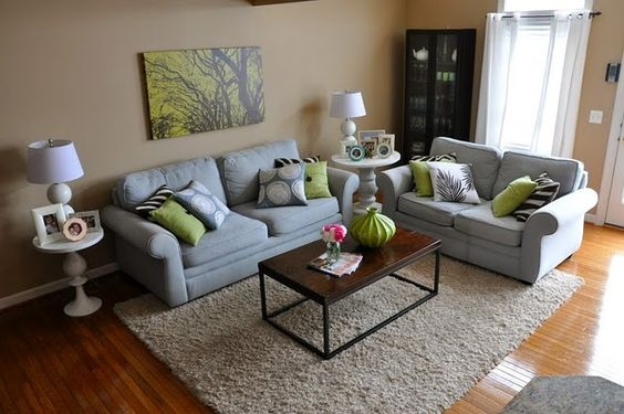 Love the citrus green with grey.  I think I will use it in our basement family room!