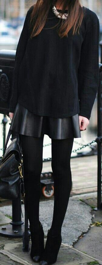 10 Ways To Wear A Leather Skirt When It's Cold AF