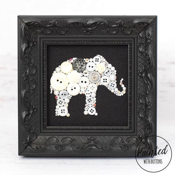 Elephant Decor Ideas: White Elephant, Framed Button Art, Elephant Wall Hanging