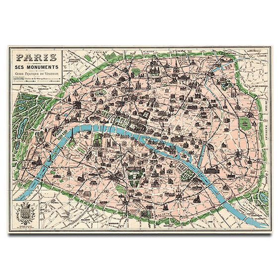 Wrapping Paper - Map of Paris (monuments) by Cavallini & Co.