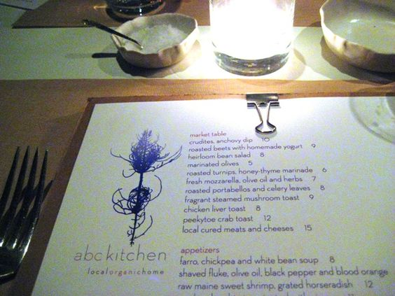 Dinner at ABC Kitchen in NYC