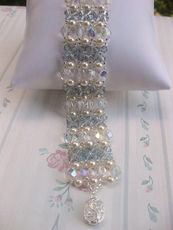 Swarovski crystal and pearls bracelet. by Carnationbeads on Etsy, $25.00