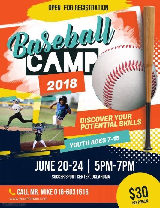 Baseball Camp Flyer Poster Baseball Camp Sports Flyer Flyer Template