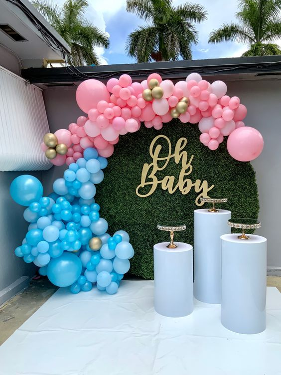 Best Balloons Garland Backdrop Decoration For Your Little Baby In 2021 Baby Gender Reveal Party Decorations Gender Reveal Party Decorations Gender Reveal Decorations