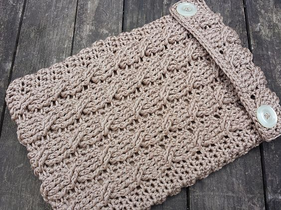 Cabled iPad Sleeve in Crochet, free pattern by Stace Clement
