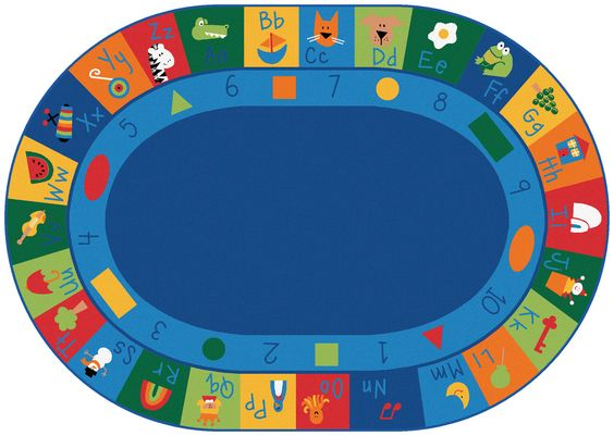"CK-7008 Learning Blocks Carpet, 8'3"" x 11'8"" Oval"