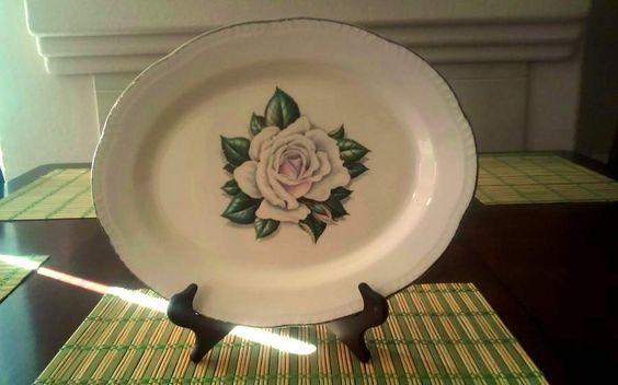 ~Rare ~~1952  HOMER LAUGHLIN CORONATION ROSE serving Platter #HOMER