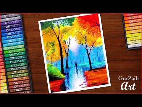 Nature Drawing With Oil Pastels Colorful Trees In Rainy Season Painting Very Easy Step By Step Y Oil Pastel Paintings Oil Pastel Art Oil Pastel Landscape
