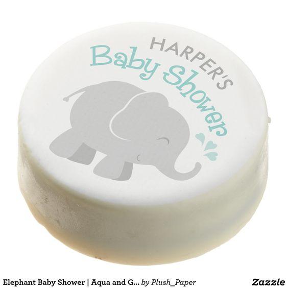Elephant Baby Shower | Aqua and Gray Chocolate Covered Oreo