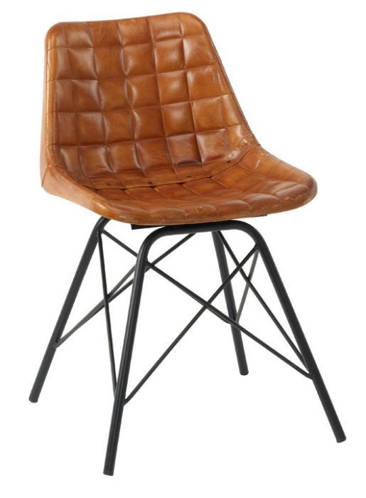 Tiger Retro Dining Chairs Bruciato Leather Brown Leather Chairs Metal Dining Chairs Retro Dining Chairs
