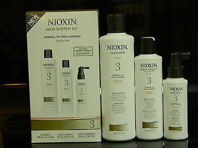 NIOXIN HAIR # 3 SYSTEM KIT NORMAL TO THIN-LOOKING HAIR SHAMPOO,CONDITIONER TREM