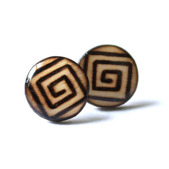 Wood Burned Stud Earrings