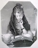 "Antique Old circa 1870 Print ""Fair Student"" by G.S.Newton Engraved Sangster 7x9"""