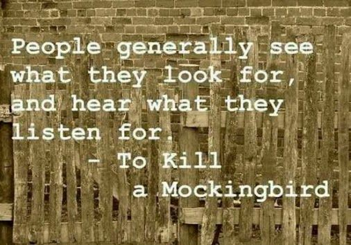 #People generally see what they #look for and #hear what they #listen for.  ~To #Kill a #Mockingbird  #LetsGetWordy  Can I get an #AMEN