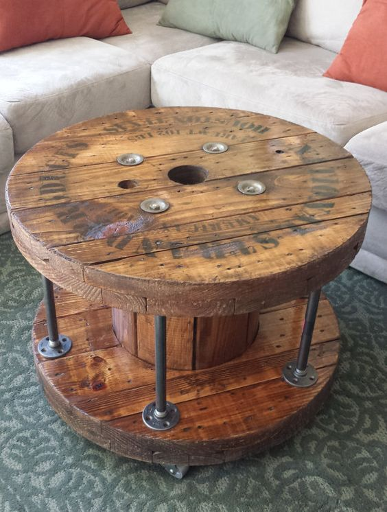 Industrial reclaimed wood spool black pipe coffee by for Wooden cable reel ideas